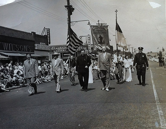 Pastor Vesper leading the march for the Anniversary Day Parade on Jamaica Avenue June 1959