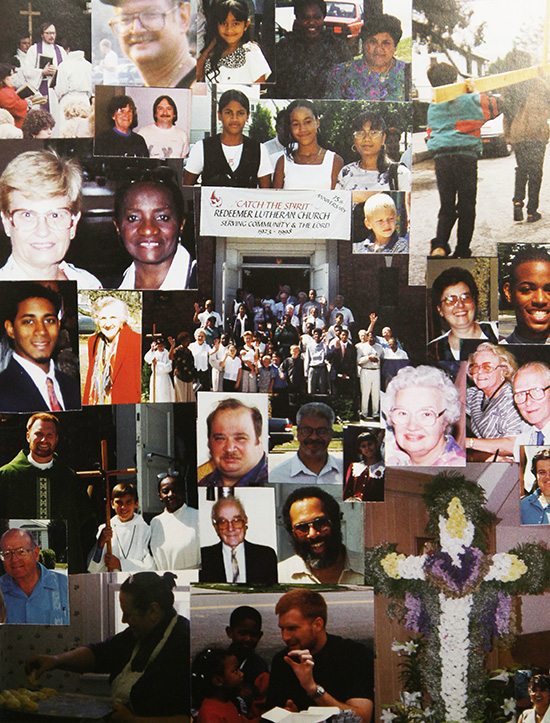 "Collage of the congregation for the 75th Anniversary in 1998 ""Catch the Spirit""."