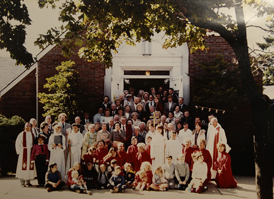 60th Anniversary Congregation Photo 1983. Pastor Thomas Olson (served 1978-1991) stands at far left, Bishop James Graeffe on right.